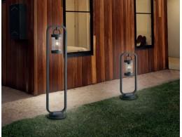 Επιδαπέδιο φωτιστικό εξωτερικού χώρου σε σκουριά ή ανθρακί με φανάρι και διακόπτη on-off.